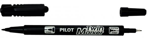 PILOT Permanent-Marker ´Twin Marker´, extra fein, schwarz