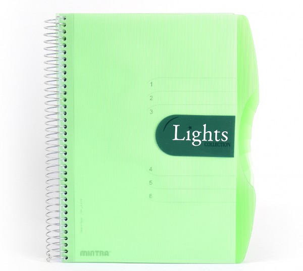 """Notizbuch """"Lights"""", DIN A4, kariert, PP-Hardcover mit Drahtspiralbindung - grün - DIN A4 - kariert (5x5mm)"""