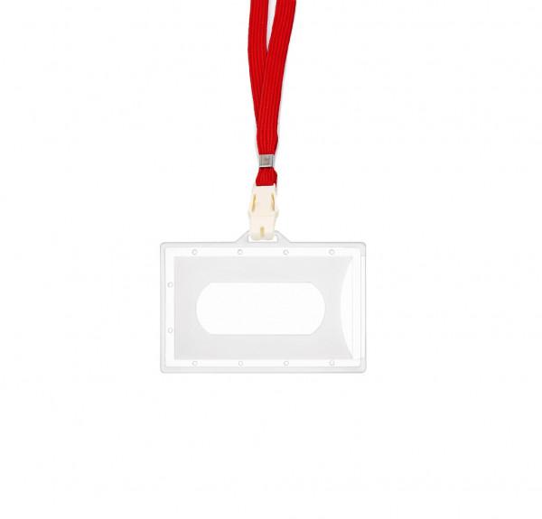 5 Kartenhalter inkl. CLIP - transparent matt - rot