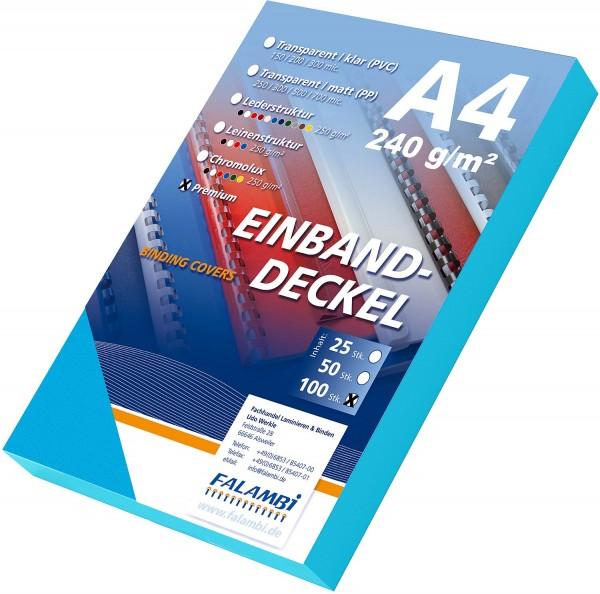 100 Einbanddeckel Lederstruktur, Falambi / Premium 240 g/m² - türkisblau
