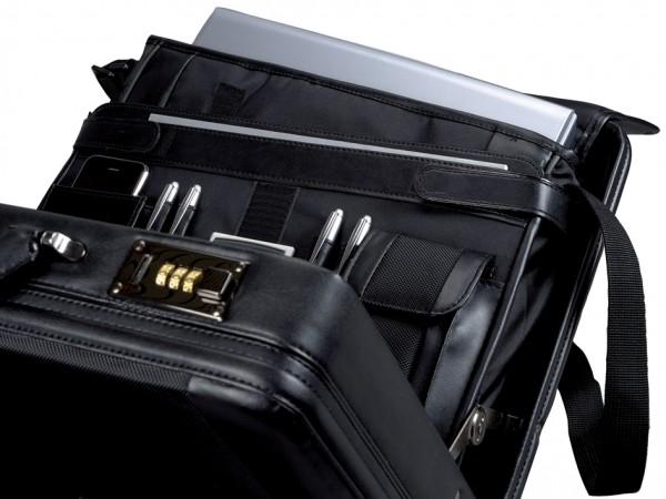 Alassio Attaché-Koffer ´MODICA´, Lederimitat/Nylon, schwarz