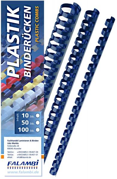 Plastik-Binderücken 21 Ringe 6 mm - blau - blau