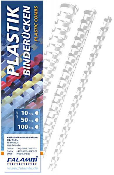 Plastik-Binderücken 21 Ringe  6 mm - weiss - weiss