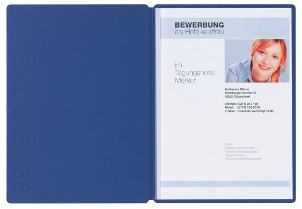 PAGNA Bewerbungsmappe ´Solo´, DIN A4, aus Karton, blau