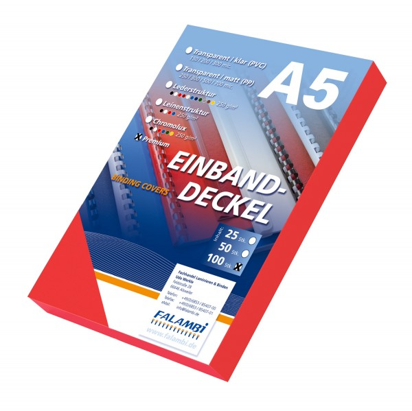100 DIN A5 Einbanddeckel Lederstruktur, Falambi / Premium 240 g/m² - rot