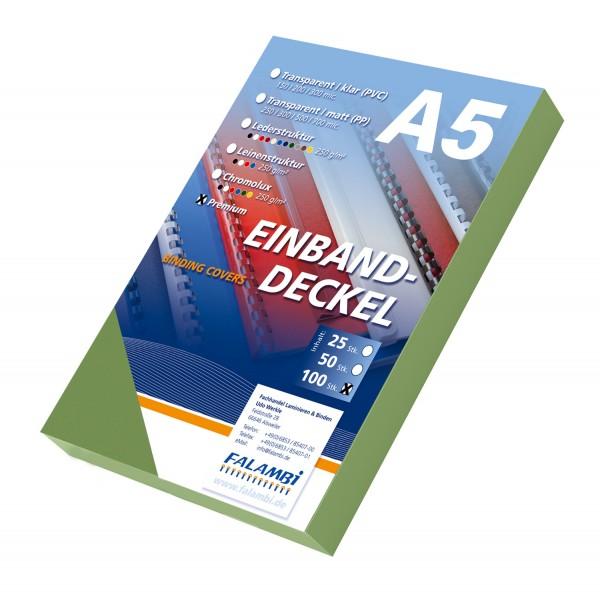 100 DIN A5 Einbanddeckel Lederstruktur, Falambi / Premium 240 g/m² - grün