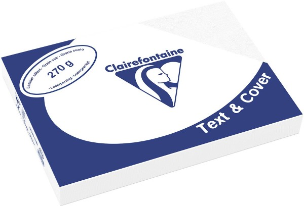 Clairefontaine Einbanddeckel, Lederstruktur, 270 g/m² - weiß