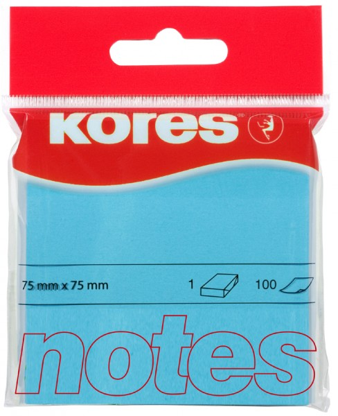 Kores Haftnotizen ´NEON´, 75 x 75 mm, blanko, neon-blau
