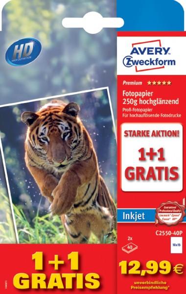 AVERY Zweckform Premium Inkjet-Fotopapier, A6, 40+40 Blatt