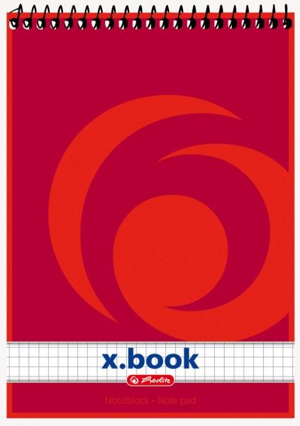 herlitz Spiralnotizblock x.book, DIN A5, 50 Blatt, kariert