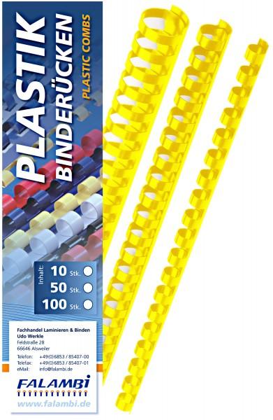 Plastik-Binderücken 21 Ringe 6 mm - gelb - gelb