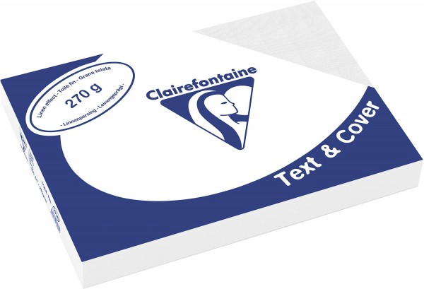 Clairefontaine Einbanddeckel, Leinenstruktur, 270 g/m² - weiß