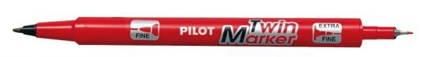 PILOT Permanent-Marker ´Twin Marker´, extra fein, rot