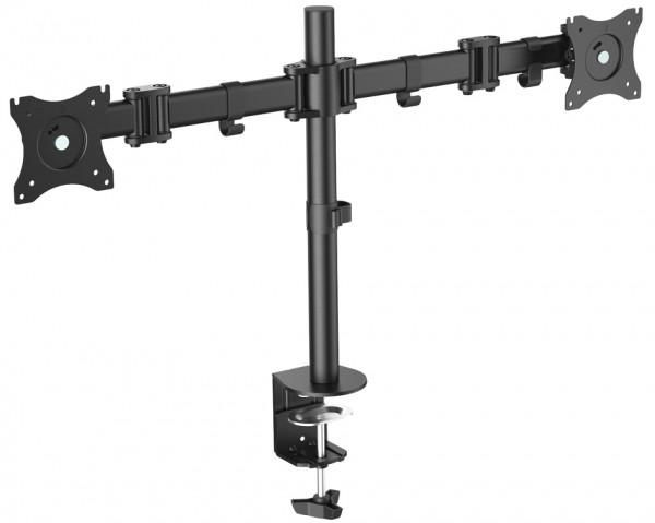 DIGITUS LCD-/LED-Monitorarm Dual, schwarz, mit Klemmfuß