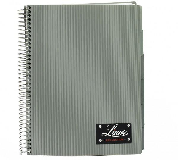 "Notizbuch ""Lines"", DIN A4, kariert, PP-Hardcover mit Drahtspiralbindung - grau"