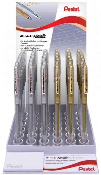 Pentel Gel-Tintenroller K118, gold und silber, Display
