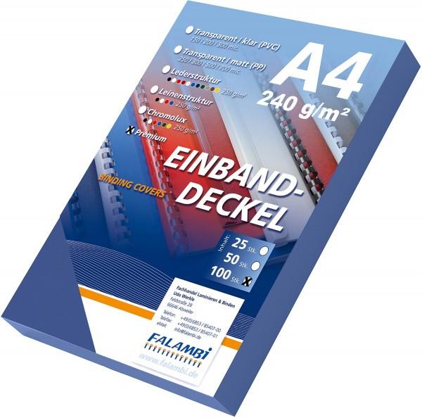 100 Einbanddeckel Lederstruktur, Falambi / Premium 240 g/m² - dunkelblau