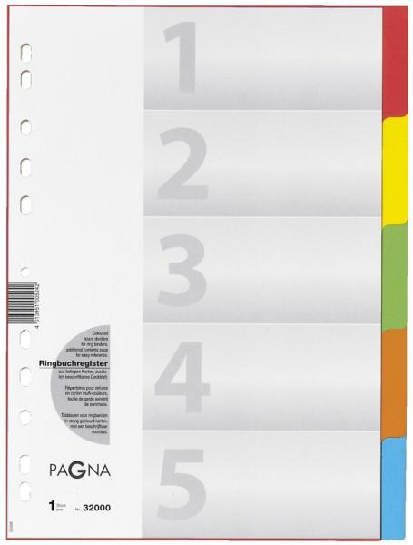 PAGNA Karton-Register, DIN A4, 5-teilig, 5-farbig