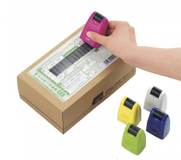 PLUS JAPAN Datenschutz-Rollstempel Standard, blau