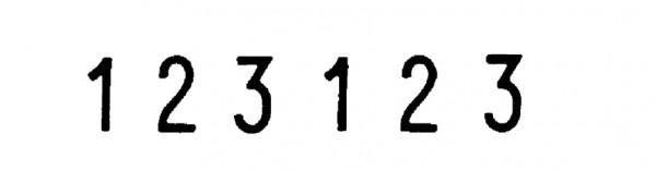 trodat Ziffernstempel, 6-stellig, Abdruckmaße: 5 x 27 mm