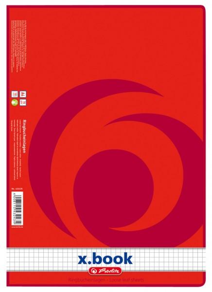 herlitz Ringbucheinlagen x.book, DIN A4, 100 Blatt, kariert