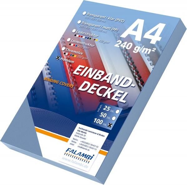 100 Einbanddeckel Lederstruktur, Falambi / Premium 240 g/m² - graublau