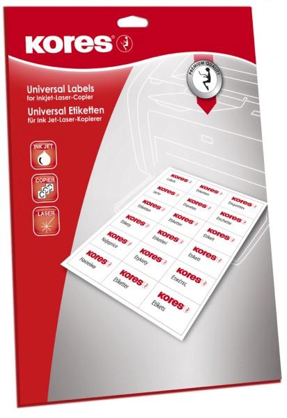 Kores Universal-Etiketten, 70 x 36 mm, weiß, 25 Blatt