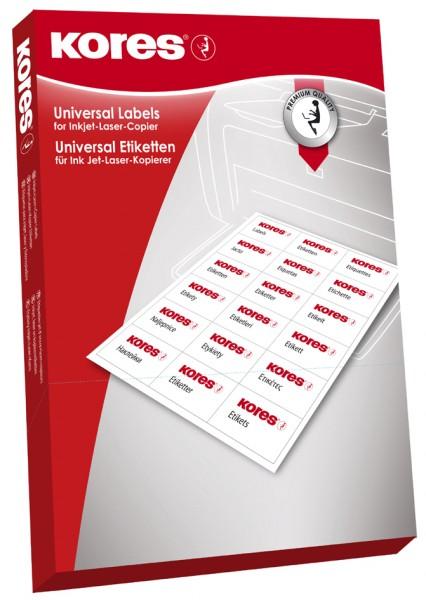Kores Universal-Etiketten, 52,5 x 21,2 mm, weiß, 100 Blatt