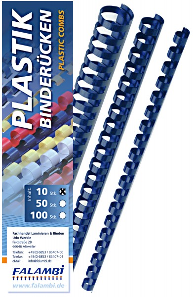 10 Falambi Plastik-Binderücken 21 Ringe - 6 mm - blau