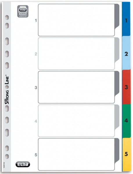 Elba Register A4 5teilig farbig Kartonregister Trennblätter Eurolochung Ordner