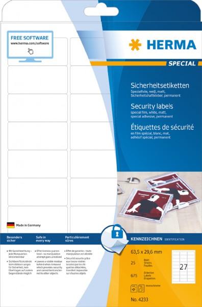 HERMA Verschlussetiketten SPECIAL, 63,5 x 29,6 mm, weiß