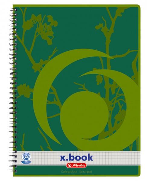 herlitz Recycling Collegeblock x.book, A4, 80 Blatt, kariert