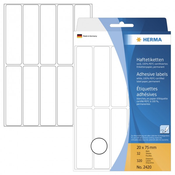HERMA Vielzweck-Etiketten, 13 x 50 mm, weiß, Großpackung