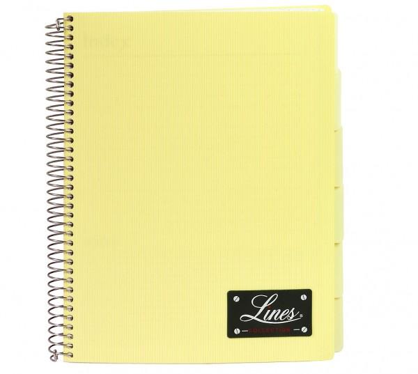 "Notizbuch ""Lines"", DIN A4, kariert, PP-Hardcover mit Drahtspiralbindung - gelb"