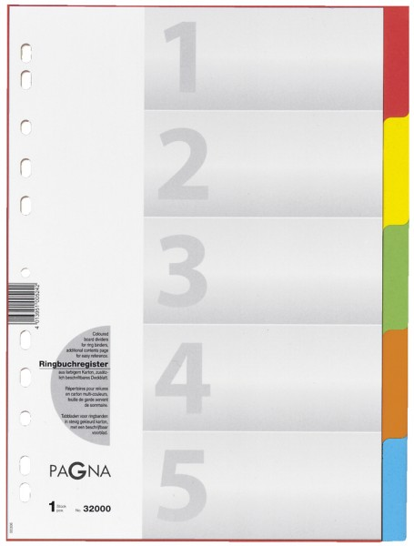 PAGNA Karton-Register, DIN A4, 12-teilig, 12-farbig