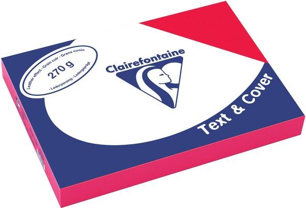 Clairefontaine Einbanddeckel, Lederstruktur, 270 g/m² - rot - rot