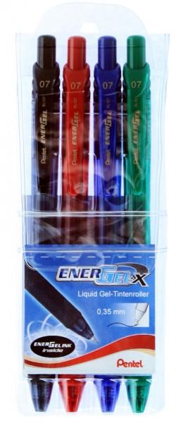 Pentel Liquid Gel-Tintenroller EnerGel-X BL107, 4er Etui