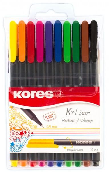 Kores Fineliner ´K-Liner´, Strichstärke: 0,4 mm, 10er Etui