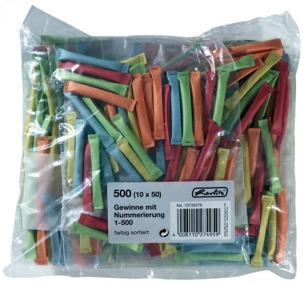 herlitz Gewinnlose, nummeriert 1-500, farbig sortiert