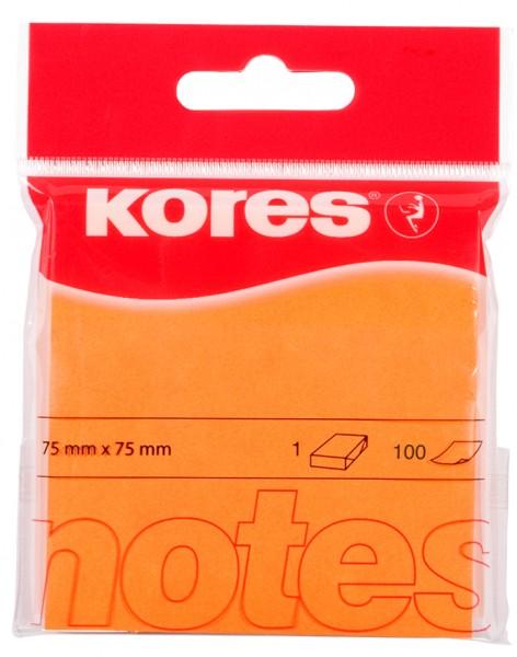 Kores Haftnotizen ´NEON´, 75 x 75 mm, blanko, neon-orange