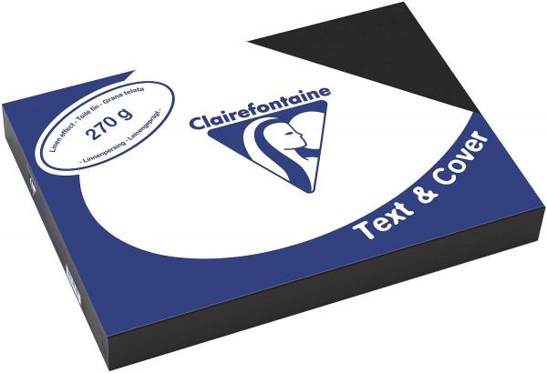 Clairefontaine Einbanddeckel, Leinenstruktur, 270 g/m² - schwarz - schwarz