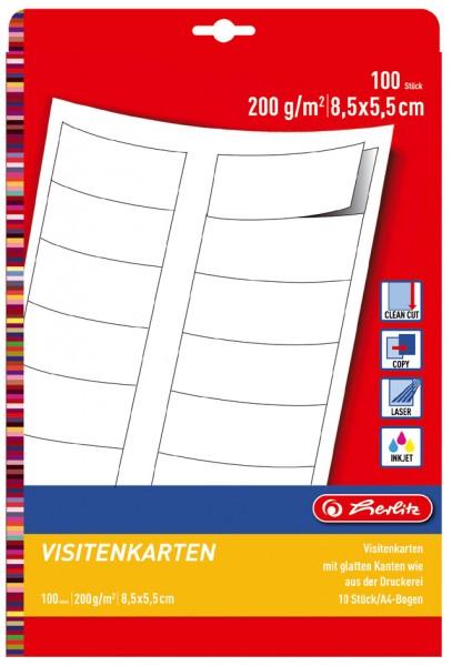 herlitz Visitenkarten, Edelkarton, 85 x 55 mm, 200 g/qm