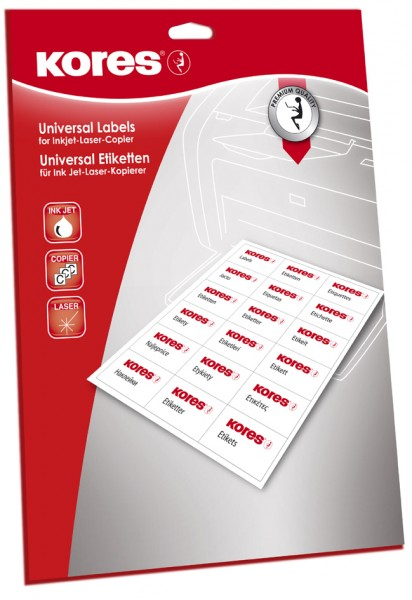Kores Universal-Etiketten, 97 x 67,7 mm, weiß, 25 Blatt