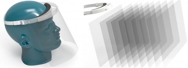 RENZ Gesichtsschutzschild - Set: 2x Halterung / 12x Ersatzschilde
