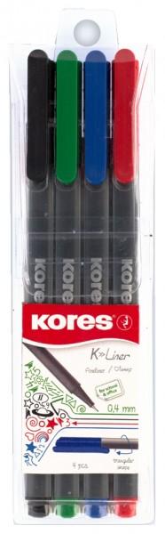 Kores Fineliner ´K-Liner´, Strichstärke: 0,4 mm, 4er Etui