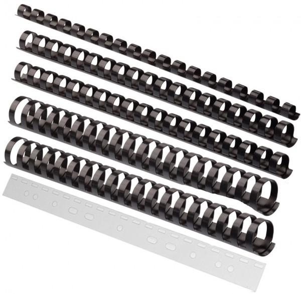 Binderücken-Sortiment 150 Teile, 6 - 19 mm - schwarz
