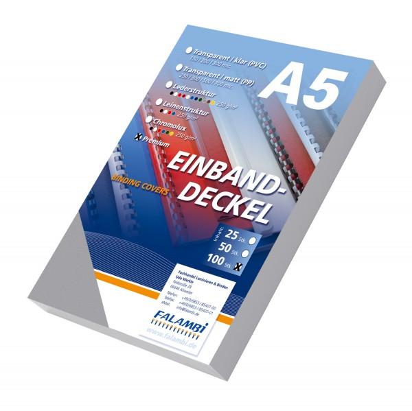 100 DIN A5 Einbanddeckel Lederstruktur, Falambi / Premium 240 g/m² - grau