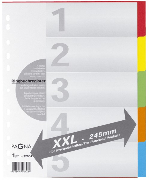 PAGNA Karton-Register, DIN A4, 6-teilig, überbreit
