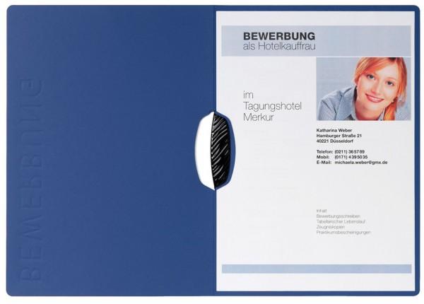 PAGNA Bewerbungsmappe ´Swing´, DIN A4, aus Karton, blau