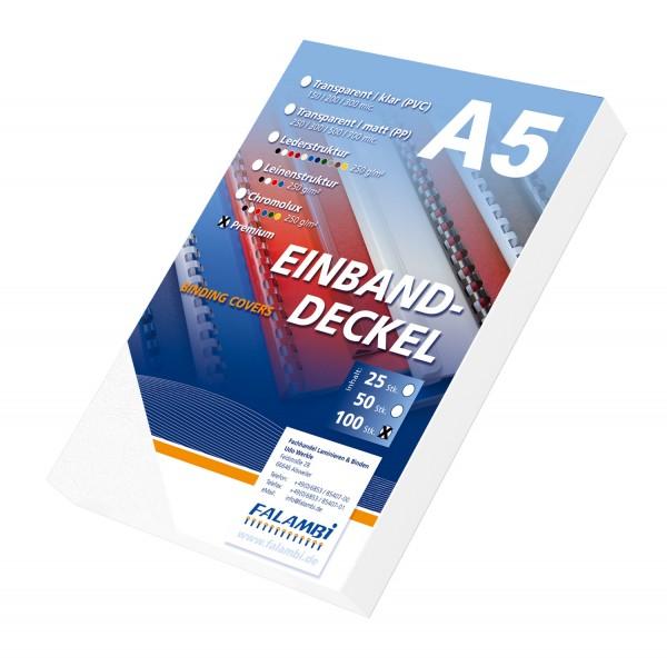 100 DIN A5 Einbanddeckel Lederstruktur, Falambi / Premium 240 - weiß